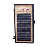 Искусственные волоски  для бровей один размер черные 16 линий  Толщина 0,07 Изгиб J Длина 8 мм
