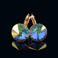 012-0041 - Серьги розовая позолота с кристаллом Swarovski Rivoli Crystal Aurore Boreale Size L