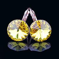 012-0043 - Серьги розовая позолота с кристаллом Swarovski Rivoli Crystal Citrine Size L