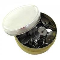 Кнопки канцелярские в металлической банке 120 шт.