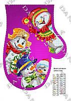 """Новогодняя рукавичка для вышивки """"Веселые снеговики"""""""