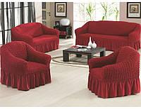 Чехол на диван и 2 кресла с оборкой DEMFIRAT KARVEN красное вино