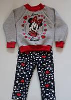 """Детский теплый костюм для девочек """"Минни Маус"""", реглан с лосинами, рост от 86 до 116 см"""