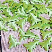 Текстильный декор для скрапбукинга: ёлочки салатовые, 3 см