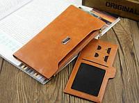 Качественный  кошелек - клатч. Оранжевый