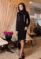 Красивое Деловое Платье Миди Черное S-2XL