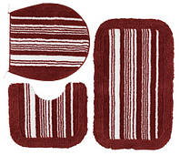 Набор мягких ковриков в ванную комнату (2 коврика + накладка на унитаз)