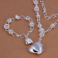 Красивый женский комплект, подвеска +браслет в стиле Tiffany & Co Тиффани
