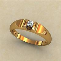 Венчальное золотое кольцо 585* пробы интересной формы