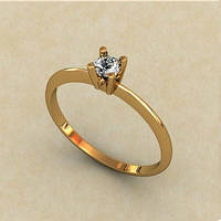 Деликатное золотое венчальное кольцо 585* пробы