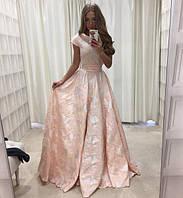 Пышное платье в пол приталенное с коротким рукавчиком