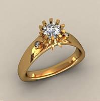 Удивительное золотое венчальное кольцо 585* пробы