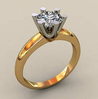 Золотое венчальное кольцо 585* пробы с крупным кастом из белого золота