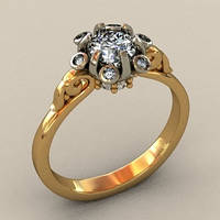 Необычное золотое венчальное кольцо 585* пробы с камнями