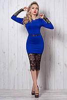 Шикарное вечернее платье яркой расцветки рукава и низ декорирован гипюром