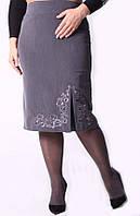 Классическая женская юбка прямого кроя с вышивкой
