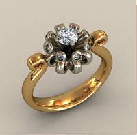 Непревзойденное золотое венчальное кольцо 585* пробы