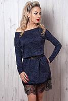 Отличное темно-синее платье из теплого трикотажа  с пояском на талии