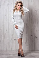 Праздничное женское платье длины миди  из жаккардовой ткани с украшением