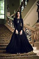 Вечернее платье в пол с длинным рукавом и расклешенной юбкой