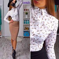 Рубашка женская с длинным рукавом и дельфинами хлопок Rb15