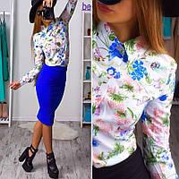 Рубашка женская с длинным рукавом в цветочный принт штапель Rb19