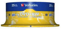 Диск Verbatim DVD+RW 4,7 Гб 4x Cake 25 штук