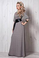 Шикарное коктейльное платье в пол с принтом лапка бежевого цвета