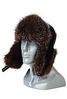 Мужская шапка-ушанка из меха енота