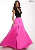 Двухцветное платье в пол с юбкой солнце-клеш