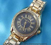 Часы Michael Kors MK-B33 женские золотистые с черным циферблатом в стразах диаметр 37 мм