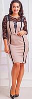 Платье женское батал кожаные вставки гипюр, фото 1