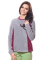 Женская,теплая,флисовая зимняя кофта серого и бордового цвета со стойкой.Не дорого