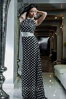 Платье в пол в горошек с контрастным поясом