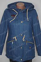 Женская зимняя  джинсовая куртка-парка на замке с капюшоном