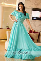 Воздушное длинное платье с воланами