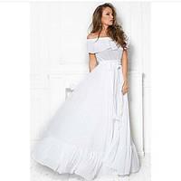 Элегантное платье в пол с открытыми плечами, воланом