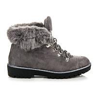 Зимние замшевые ботинки женские с мехом на низком ходу