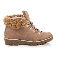Зимние замшевые ботинки женские бежевые с мехом