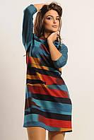 Яркое платье А-силуэта из трикотажа и замша