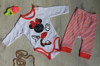 Детский набор бодик и штаны, материал интерлок, возраст 3м, 6м, 9 м, 12м  Турция