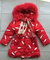 Курточка зимняя на девочку с шарфом 4-8 лет.