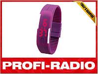 Спортивные силиконовые LED часы фиолетовые