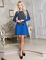 Платье женское длинный рукав вставки, фото 1