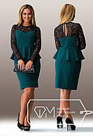 Женское платье с баской и гипюром 48-54