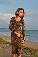 Платье женское до колен леопард