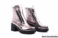 Ботинки женские кожаные Donna Ricco (ботильоны, стильные, каблук, байка, антискользящая подошва, Турция)