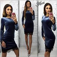 Платье из бархата с кружевом мини 5 цветов 2SMmil753