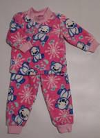 Детская махровая пижама с мишками, розовая, рост от 80 до 128 см