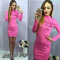 Платье с воротником под горло и бантом мини трикотаж разные цвета 1SMmil754